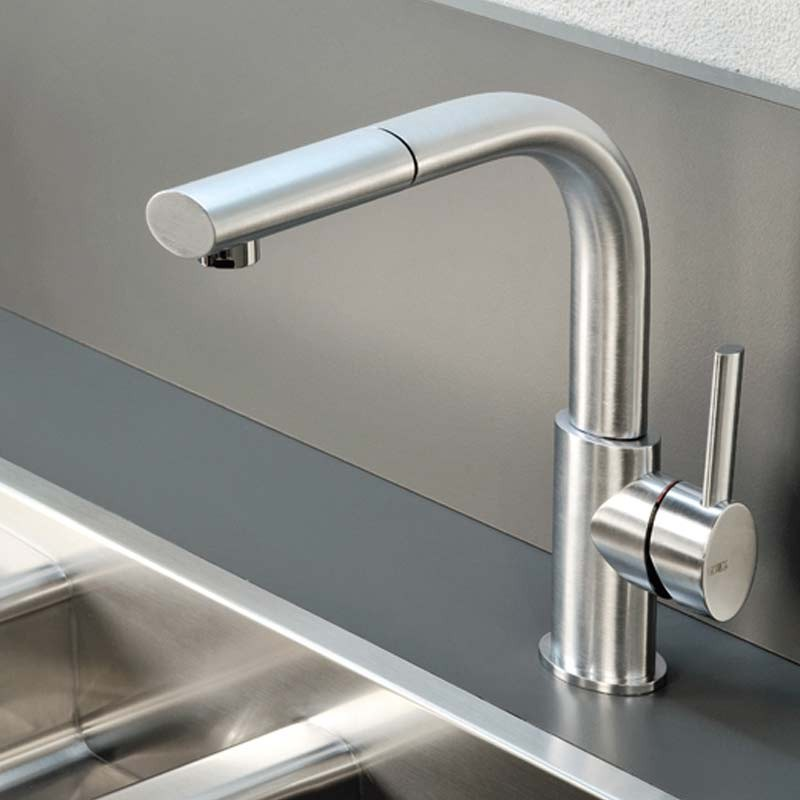 Gessi Ovale Mono Kitchen Mixer Tap With Pull Out Spray Brushed Steel