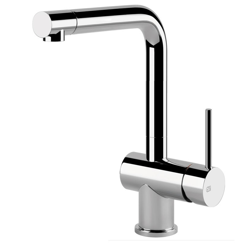 Gessi Oxygen Single Lever Sink Mixer Brushed Steel