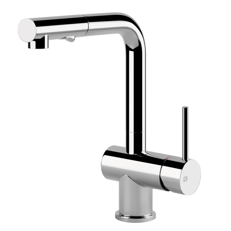 Gessi Oxygen Sink Mixer with Pull Out Rinse Brushed Nickel