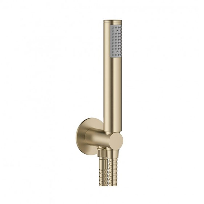 Designer Wall Outlet With Handset And Hose Brushed Brass