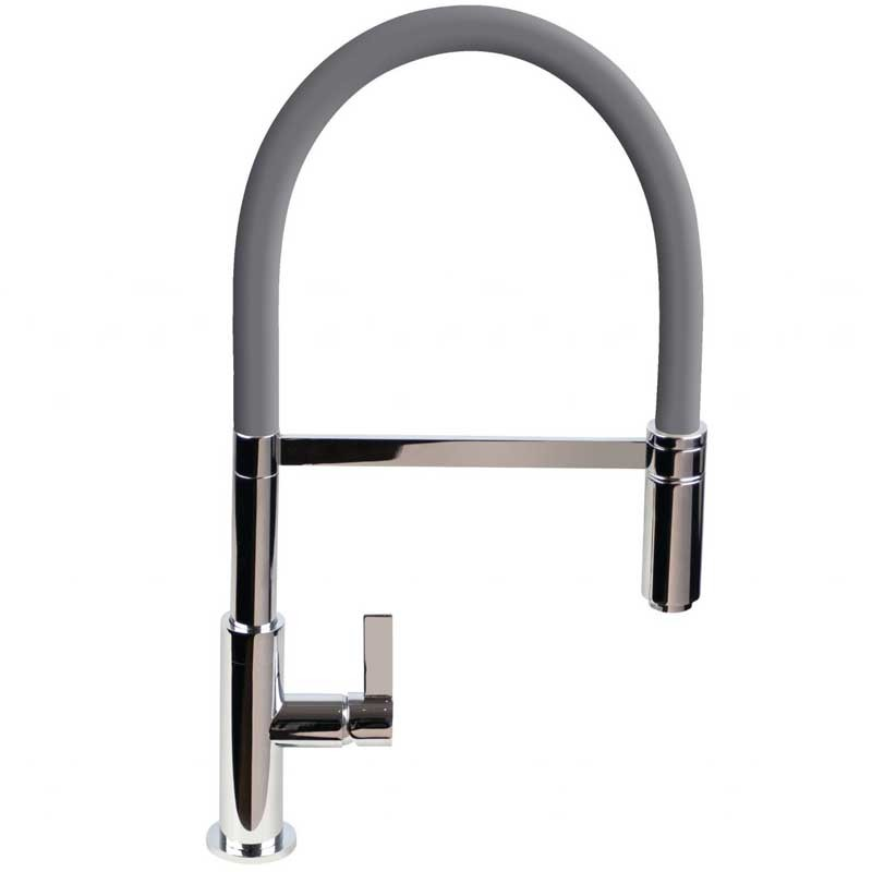 Spirale Sink Mixer Brushed Steel - Anthracite Flexible Spout