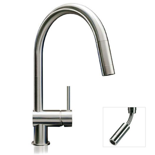 Buy Vela Mixer Tap With Pull Out Matt Stainless Steel 0106m Mgs