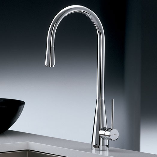 Ycon Kitchen Mixer Tap With Pull Out Rinse Brushed Steel
