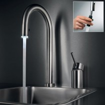 Inox Light 2 Hole Sink Mixer with Pull Out Aerator