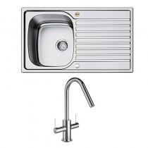 Bristan l Kitchen Sink Inox 1.0 Bowl Steel Universal Cashew Tap SK INXRD1 SU CSH