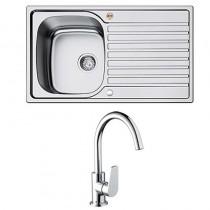 Bristan l Kitchen Sink Inox 1.0 Bowl Steel Universal Raspberry Tap SK INXRD1 SU RSP