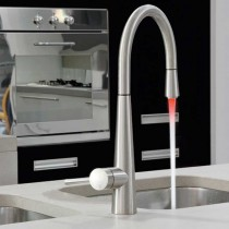 Just Light Kitchen Mixer Tap With Swivel Spout And Pull Out Rinse Brushed Steel