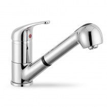 Creta Kitchen Mixer Tap With Pull Out Spray Brushed Steel