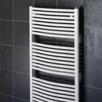 Design Curved 400 x 800 White Towel Rail
