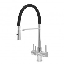 Aquila 3 Lever Mixer And Cold Filter Tap Chrome/Black Hose