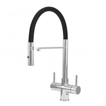 Aquila 2 Lever Mixer And Cold Filter Tap Chrome/Black