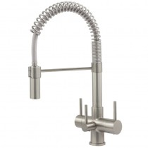 Milano 3 Lever Mixer And Cold Filter Tap Brushed Steel