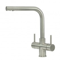 Sorrento 2 Lever Mixer And Cold Filter Tap Brushed Steel