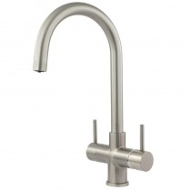 Verona 2 Lever Mixer And Cold Filter Tap Brushed Steel