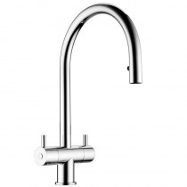 Altair Twin Lever Sink Mixer with Pull Out Aerator Chrome