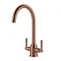 Alzira Monobloc Twin Lever Sink Mixer Brushed Copper