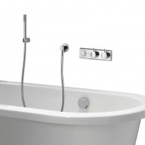 HiQu Digital Bath Control with Bath Filler Overflow with Slim Metal Shower Handset