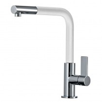 Auriga Monobloc Kitchen Mixer Tap White Spout Brushed Nickel