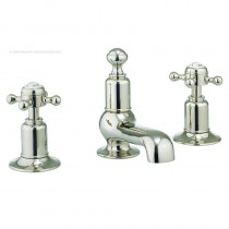 Belgravia Crosshead 3 Hole Basin Mixer Nickel