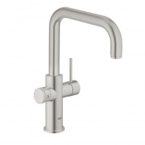 Grohe Blue Home Mixer and Cold Filter Tap U Spout Brushed