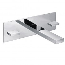 Bloque 3 Hole Wall Basin Mixer with Clicker Waste
