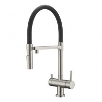 Bellatrix Mixer - Cold Filter Brushed Nickel, Black Silicon Spout