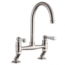 Dephini Bridge Sink Mixer Brushed Nickel