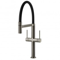 Dorado Kitchen Sink Mixer Brushed Nickel - Black Spout