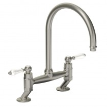 Elegance Bridge Kitchen Mixer Tap Brushed Nickel