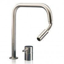 F2 SQ E 2 Hole Mixer With Pull Out Spout Polished Stainless Steel
