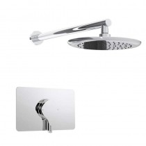 Flute Thermostatic Recessed Single Control Chrome Shower Valve with Fixed Head Kit