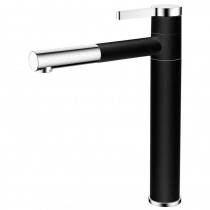Galatea Top Lever Sink Mixer with Pull Out Aerator Brushed Nickel Nero
