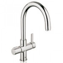 Grohe Duo Filtered Boiling Water Tap 'C' Spout Brushed Steel