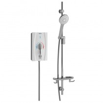 Joy Care Thermostatic 9.5kW Electric Shower White Long Rail Lever Dial
