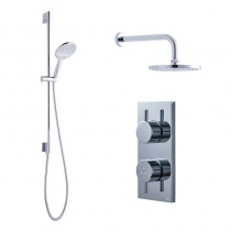 Crosswater Kai Dual Outlet Shower with Digital Processor and 200mm Central Shower Head and 330mm Arm Svelte Shower Kit High Pressure - KAI PACK 04