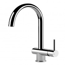 Oxygen Sink Mixer with C Swivel Spout Brushed Steel