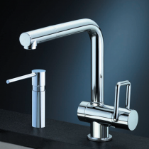 Arwa Twin Single Lever Mixer with Pull Out Rinse (Pictured soap dispenser not included)