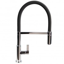 Spirale Sink Mixer Brushed Steel - Black Flexible Spout