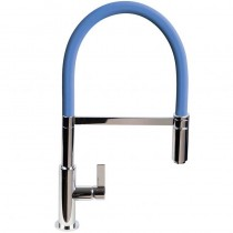 Spirale Sink Mixer Brushed Steel Mid Blue Spout
