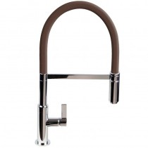 Spirale Sink Mixer Brushed Steel - Chocolate Flexible Spout