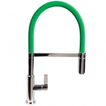 Spirale Sink Mixer Brushed Steel - Green Flexible Spout