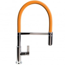 Spirale Sink Mixer Brushed Steel - Orange Flexible Spout