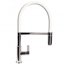 Spirale Sink Mixer Brushed Steel - White Flexible Spout