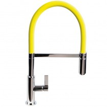Spirale Sink Mixer Brushed Steel - Yellow Flexible Spout