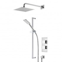 Sync Dual Function Shower System with Fixed Head and Riser Rail