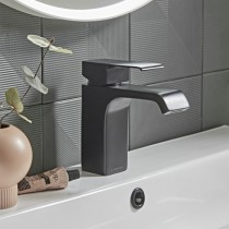 Hydra Basin Mixer With Click Waste Black