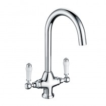Traditional Twin Lever Handle Monobloc Kitchen Sink Mixer Chrome