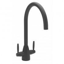 Twin Lever Handle Monobloc Kitchen Sink Mixer Black