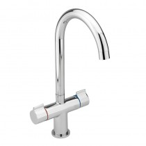 Twin Round Handle Monobloc Kitchen Sink Mixer Chrome