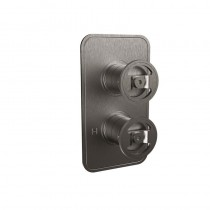 Crosswater Union Single Outlet Thermostatic Shower Valve Brushed Black Chrome Wheel Control